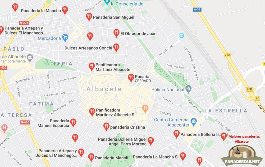 Mapa mejores panaderías en Albacete