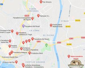 Mapa mejores panaderías en Almería