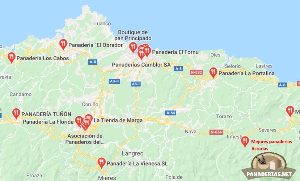 Mapa mejores panaderías en Asturias