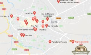 Mapa mejores panaderías en Ávila