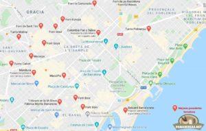 Mapa mejores panaderías en Barcelona