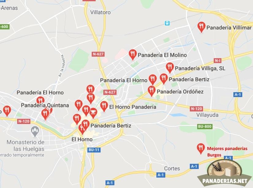 Mapa mejores panaderías en Burgos