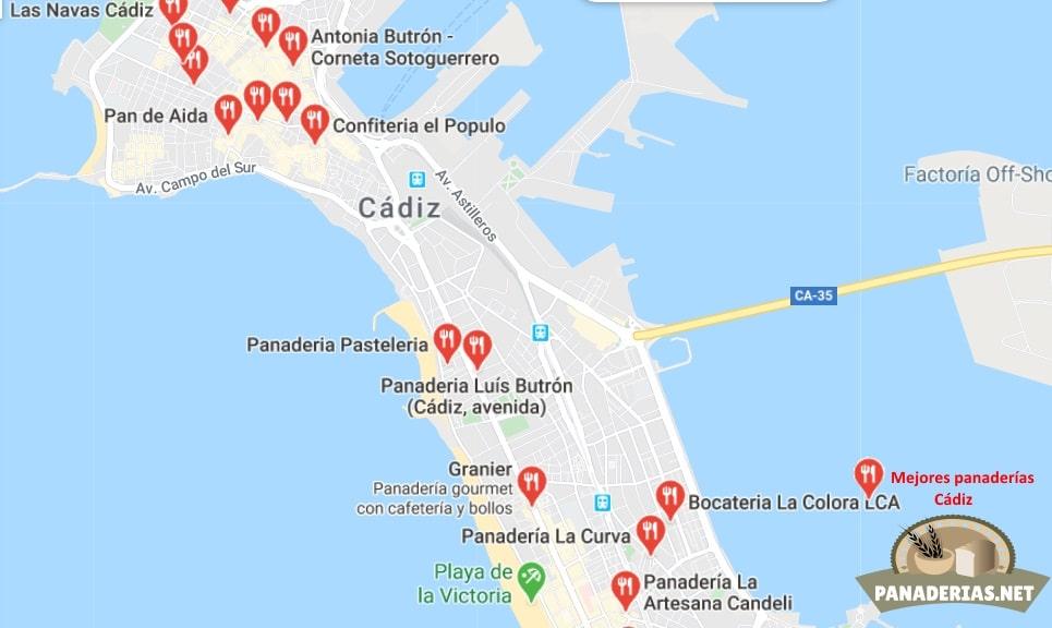 Mapa mejores panaderías en Cádiz