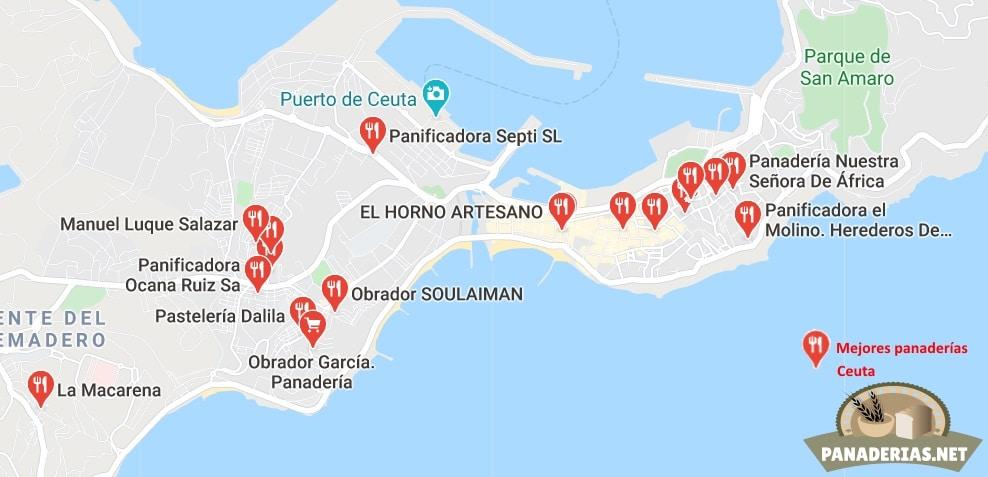 Mapa mejores panaderías en Ceuta
