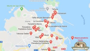Mapa mejores panaderías en Coruña