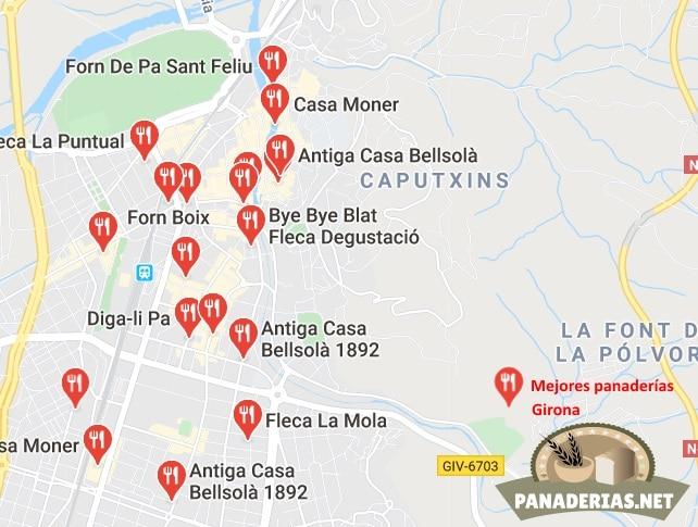 Mapa mejores panaderías en Girona
