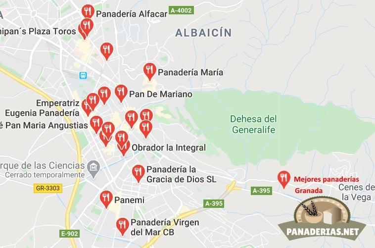 Mapa mejores panaderías en Granada