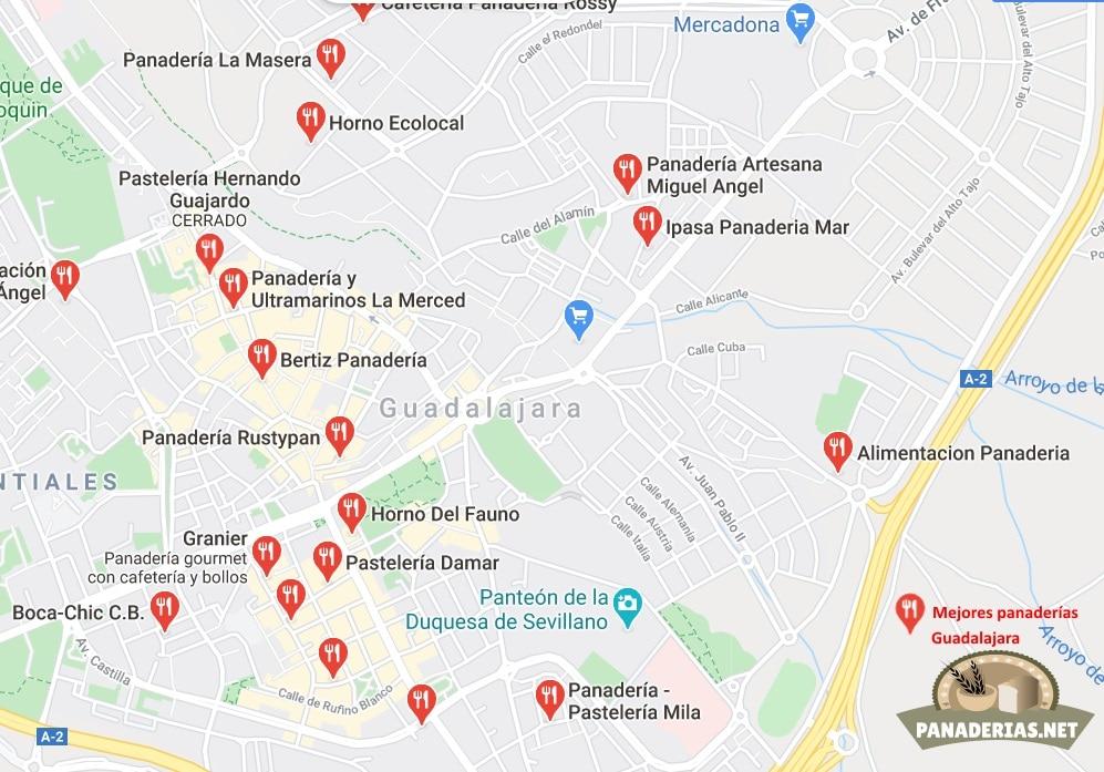 Mapa mejores panaderías en Guadalajara