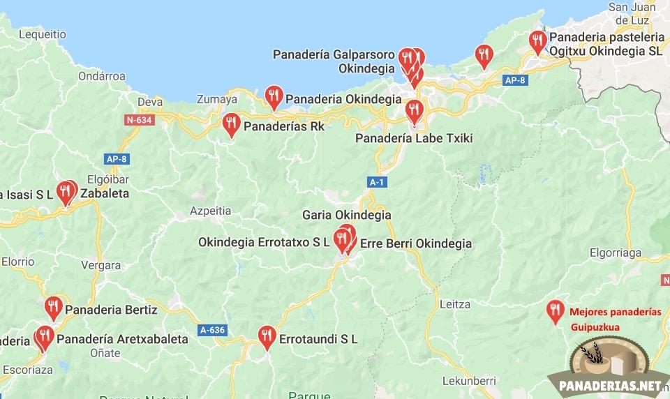 Mapa mejores panaderías en Guipúzcoa