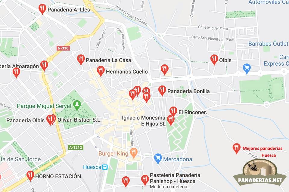 Mapa mejores panaderías en Huesca