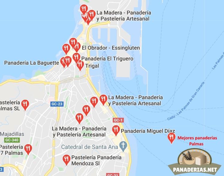 Mapa mejores panaderías en las Palmas