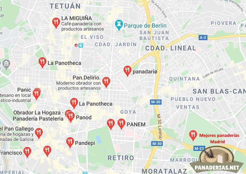 Mapa mejores panaderías en Madrid