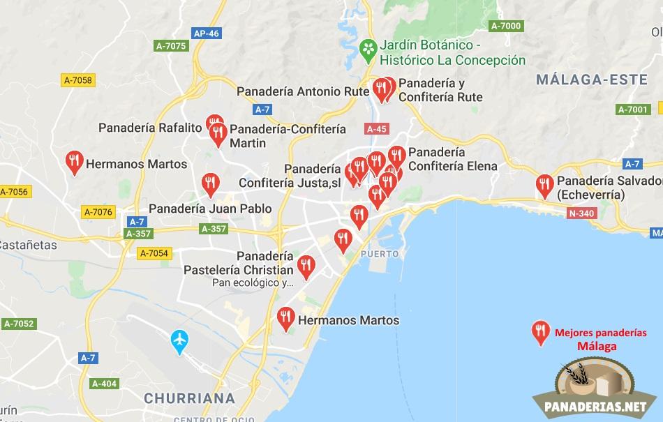 Mapa mejores panaderías en Málaga