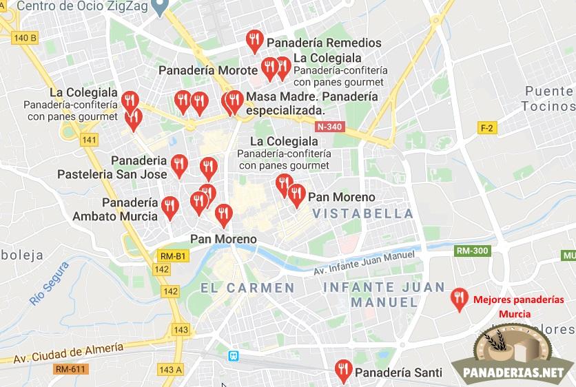 Mapa mejores panaderías en Murcia