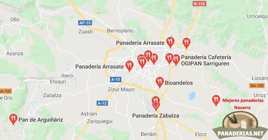 Mapa mejores panaderías en Navarra