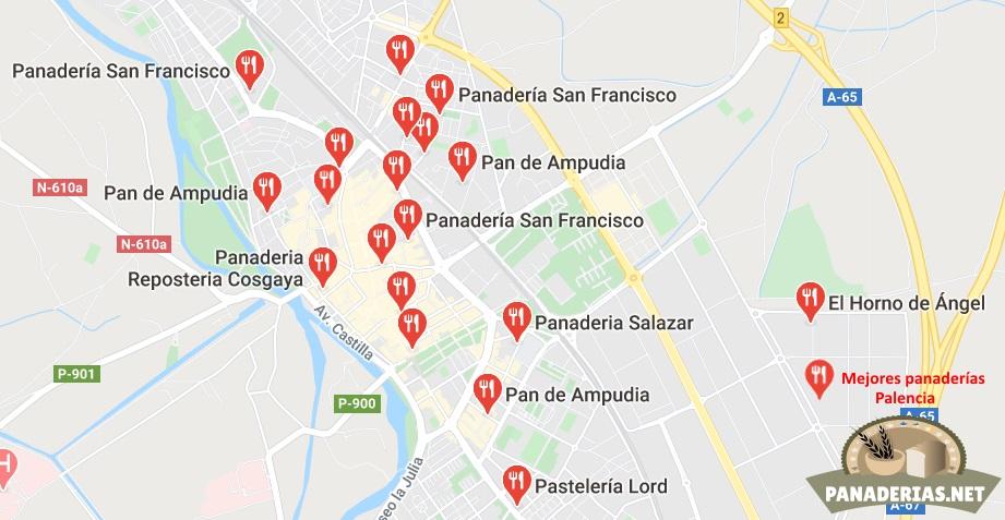 Mapa mejores panaderías en Palencia