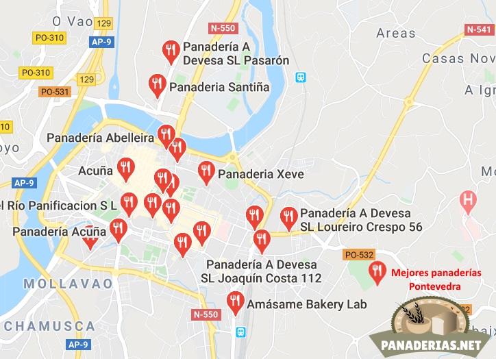 Mapa mejores panaderías en Pontevedra