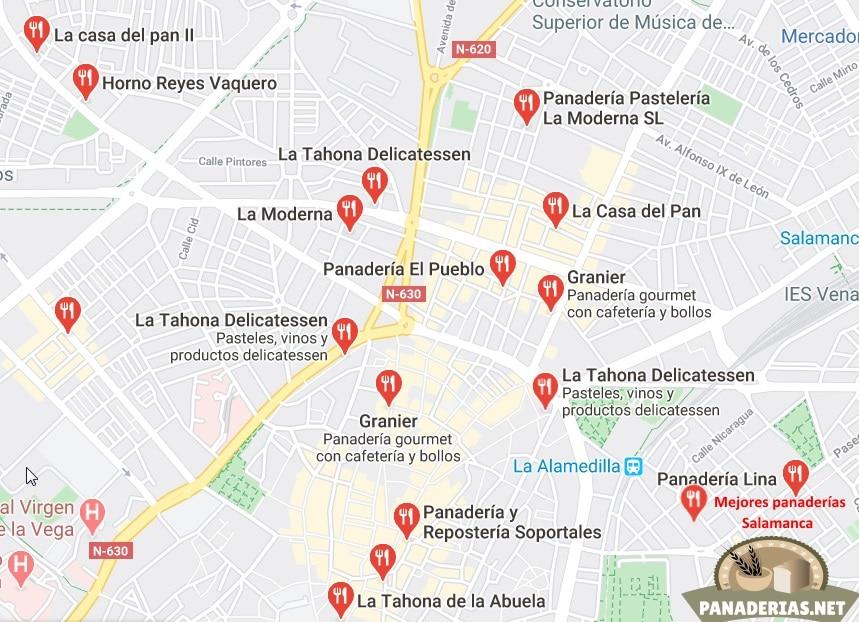 Mapa mejores panaderías en Salamanca