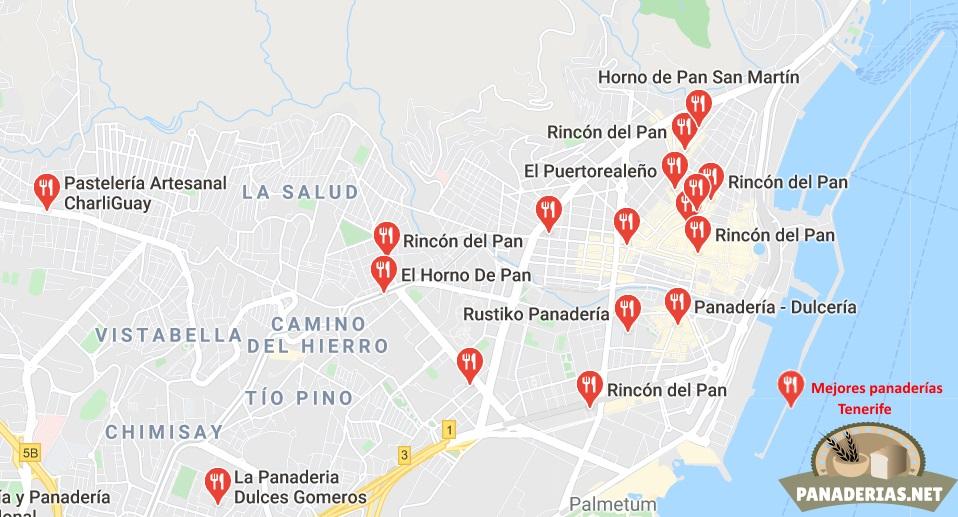 Mapa mejores panaderías en Tenerife
