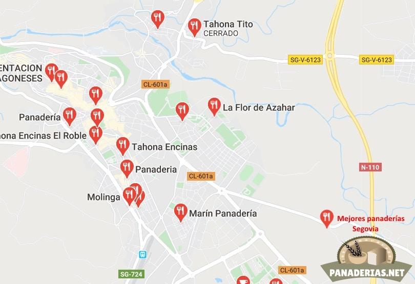 Mapa mejores panaderías en Segovia