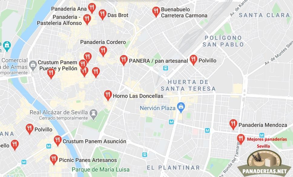 Mapa mejores panaderías en Sevilla