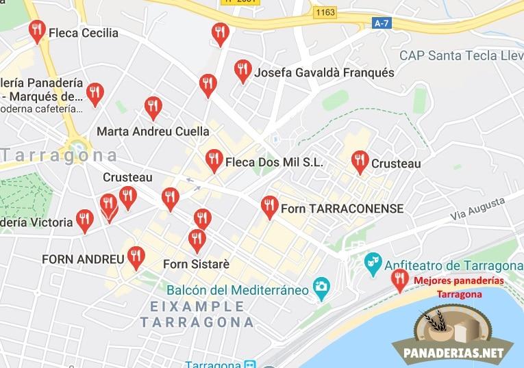 Mapa mejores panaderías en Tarragona