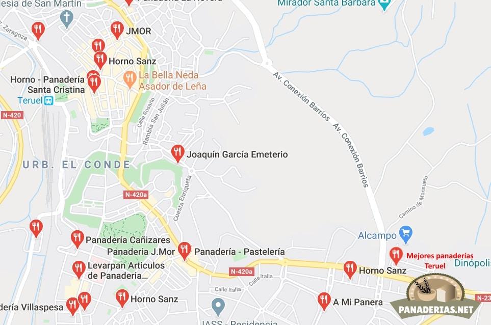 Mapa mejores panaderías en Teruel