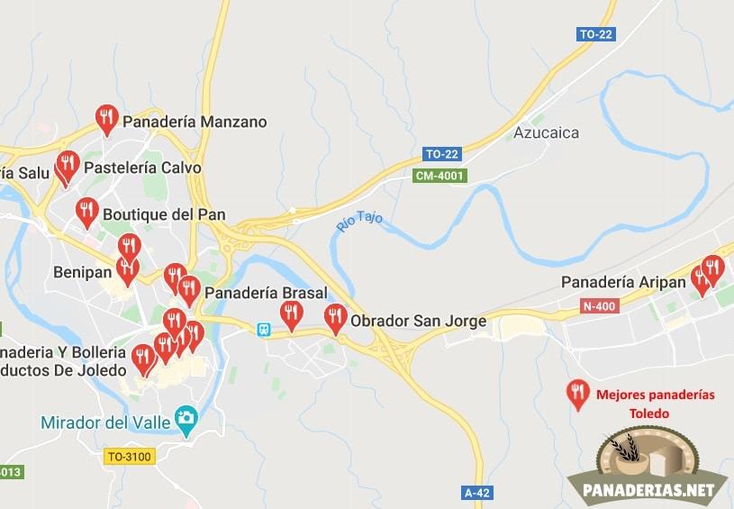Mapa mejores panaderías en Toledo