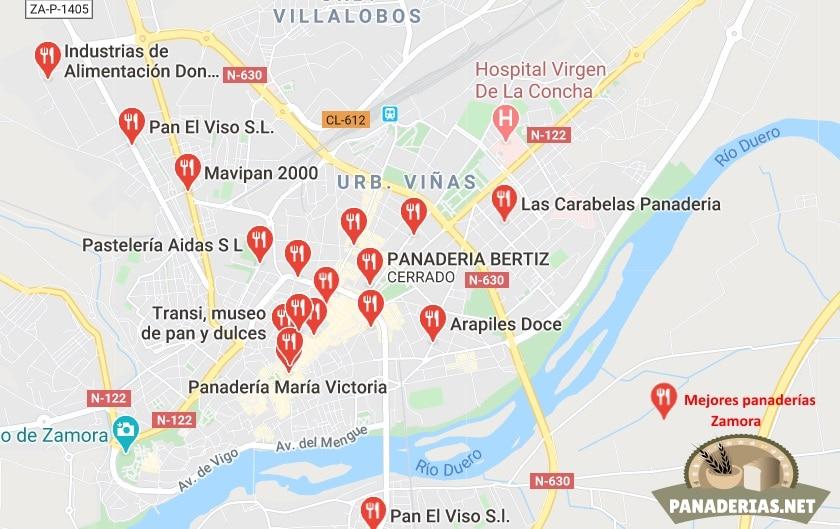 Mapa mejores panaderías en Zamora